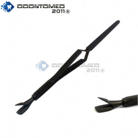 OdontoMed2011® Tactical All Black Multi Function Cuticle Pusher Tweezer 7'' Acrylic Nail Pincher Tool Magic Wand ODM