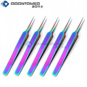 OdontoMed2011® 5 Pieces Stainless Steel Jeweler Style Tweezers No.5 Multi Titanium Rainbow Color Fine Point Jewelry-making ODM