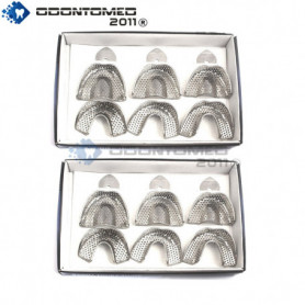 OdontoMed2011® 2 Set Of 6 Pieces Dental Impression Trays Baby Perforated Denture Instruments Stainless Steel ODM